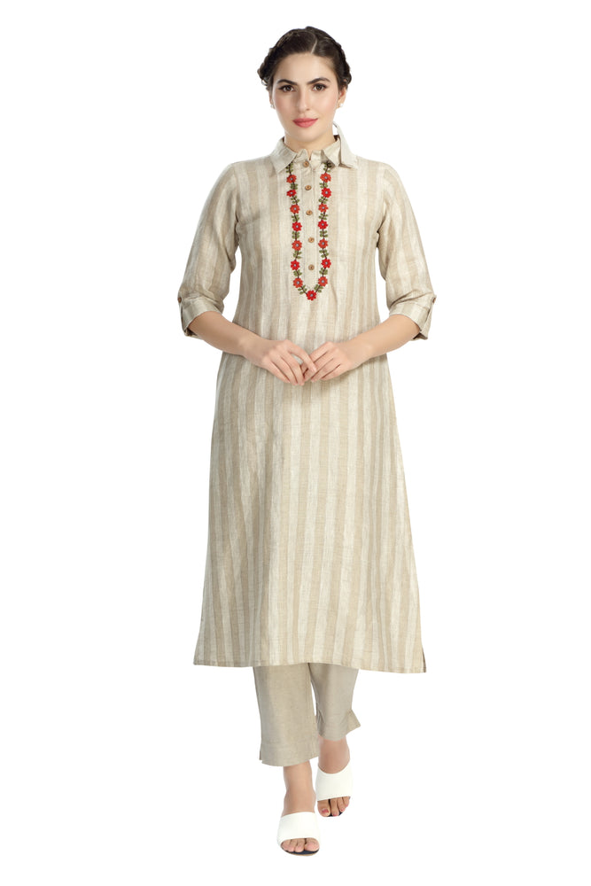 Natural Woven Striped Tunic with Embroidery