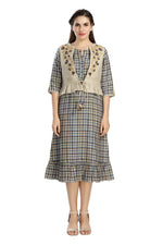 Checkered Dress with Natural Embroidered Jacket