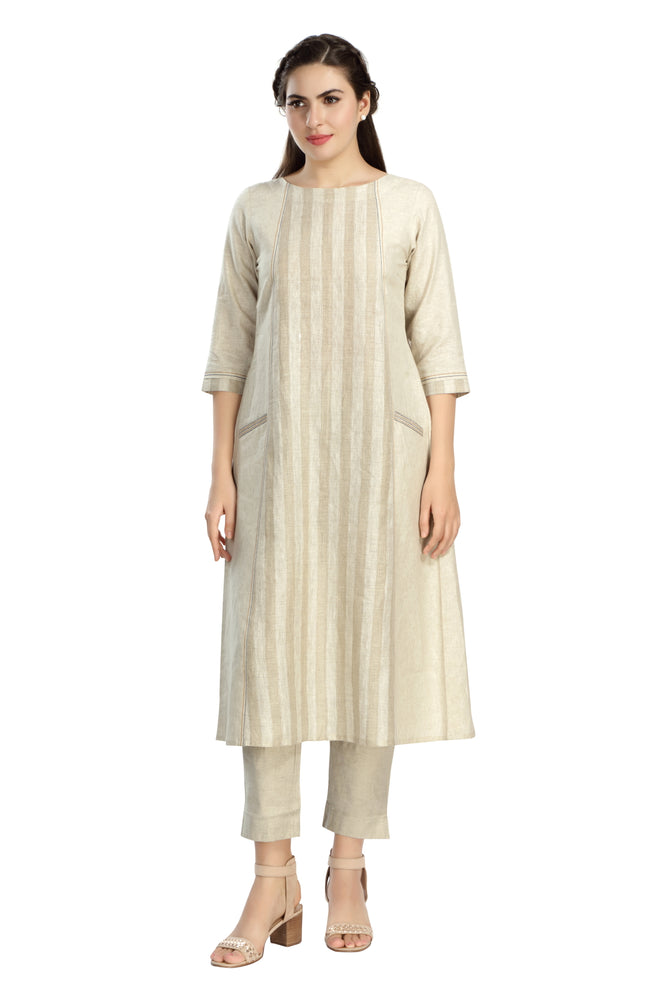 Woven Striped Tunic with Embroidery