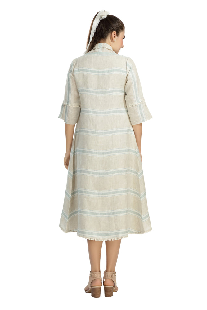 Linen Dress with Woven Striped Jacket