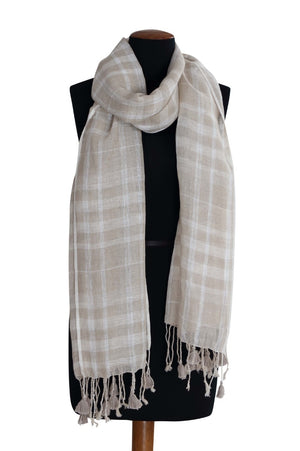 Load image into Gallery viewer, Natural Bleach Checkered Linen Scarf