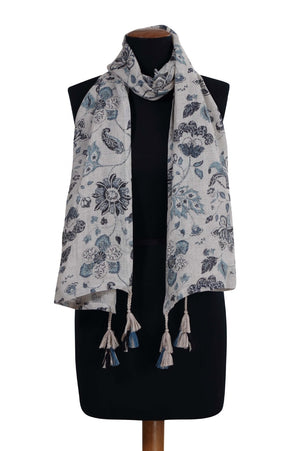 Load image into Gallery viewer, Blue Paisley Print Linen Scarf*