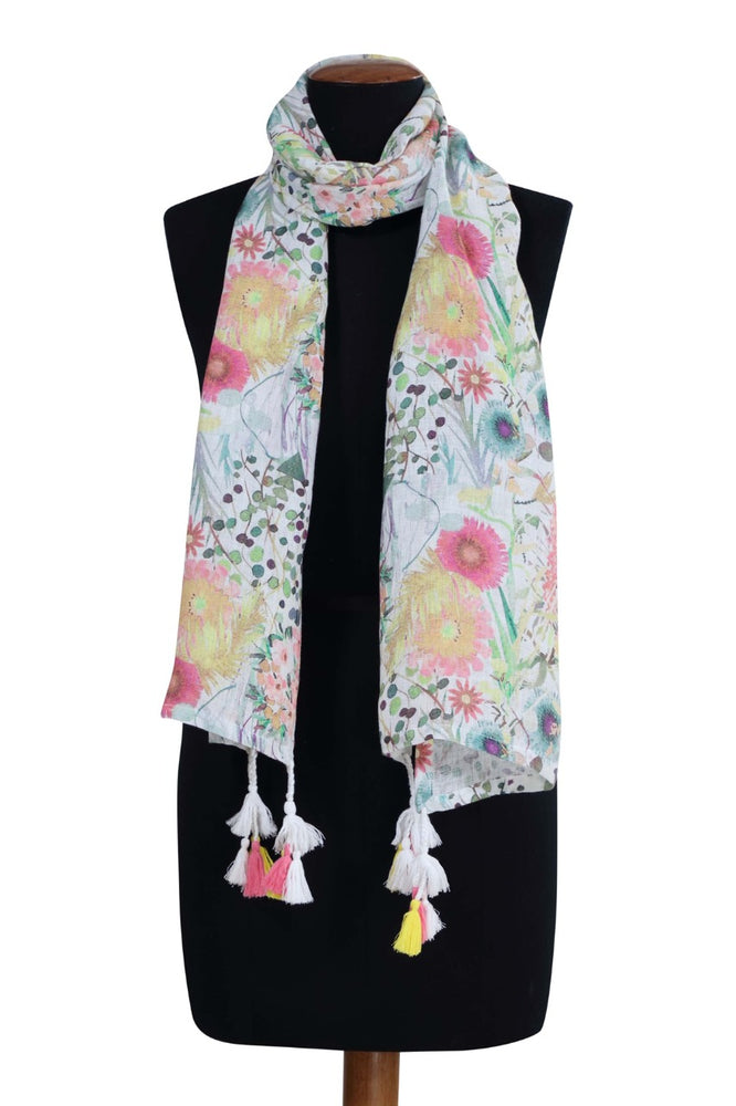 Summer Blooms Printed Linen Stole