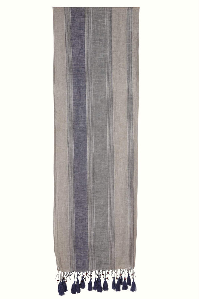 Load image into Gallery viewer, Indigo Stripe Linen Scarf