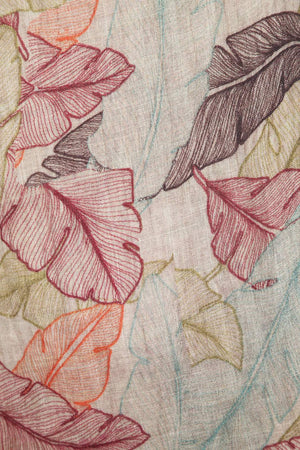 Autumn Leaves Printed Linen Scarf/Stole
