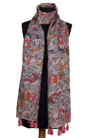 Load image into Gallery viewer, Grapefruit Watercolour Printed Linen Scarf/Stole