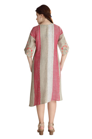 Load image into Gallery viewer, Fuschia Frayed Linen Dress