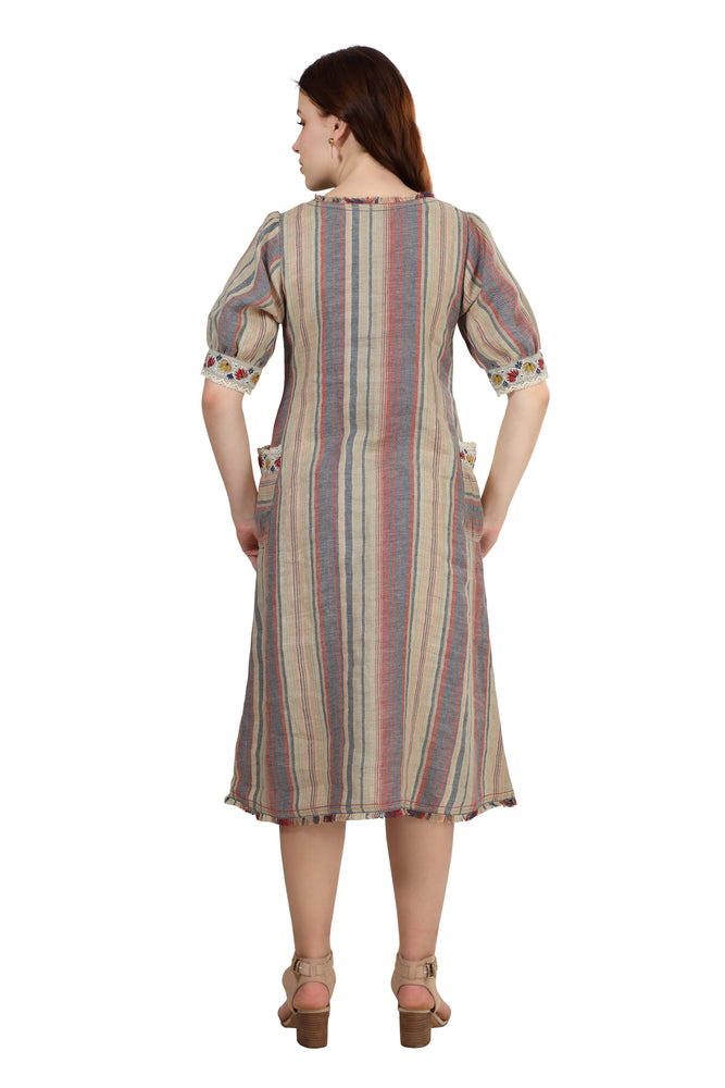 Berry Woven Striped Dress