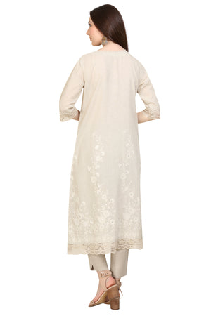 Creamy Embroidered Tunic