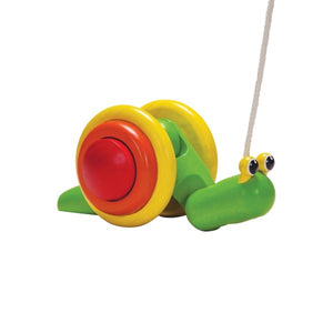 Rubberwood Pull-Along Snail