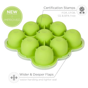 Freezer Tray with Silicone Clip-on Lid for Baby food storage - Green