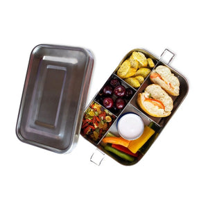 Stainless Steel Five Compartment Lunch Box with a Dip Container (Large)