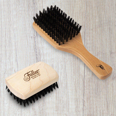 Hand-crafted Hairbrush Gift Set - Includes Beech Wood Club Hairbrush and Pocket-size Hair & Beard Brush-Hair Brushes-Fuller Brush Company