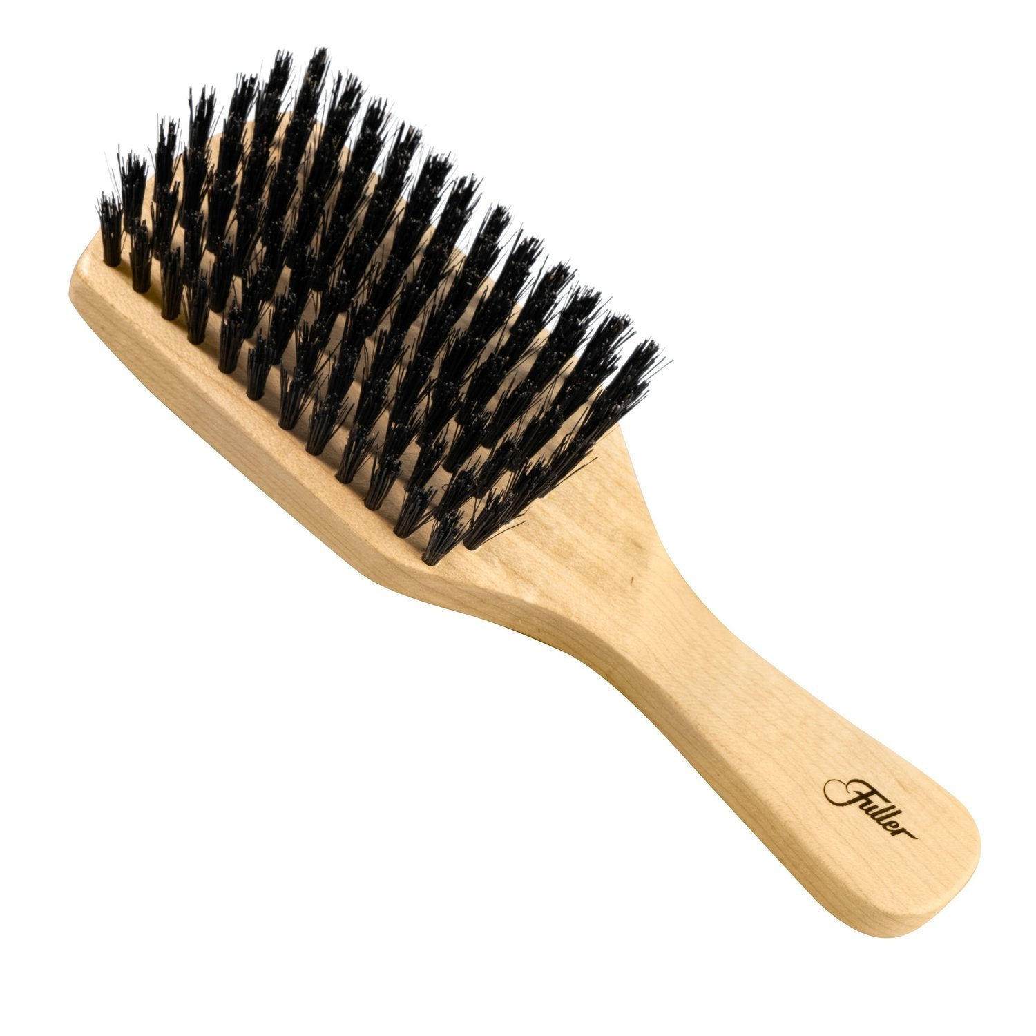 Wood Club Hairbrush W/Natural Boars Hair Bristles Unique Pattern