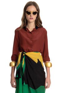 BROWN WAIST SILK SHIRT