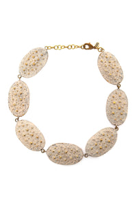 Beige Small Oval Patina Necklace