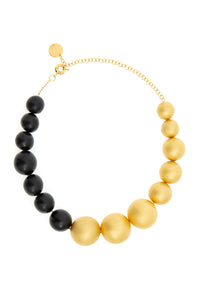 Black and Gold Woodball Necklace