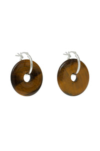 Small Saturn Earrings Tiger Eye