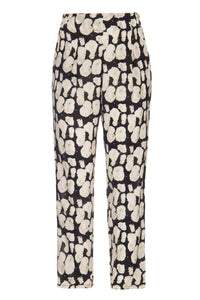 Black and White Fungus Elastic Trousers