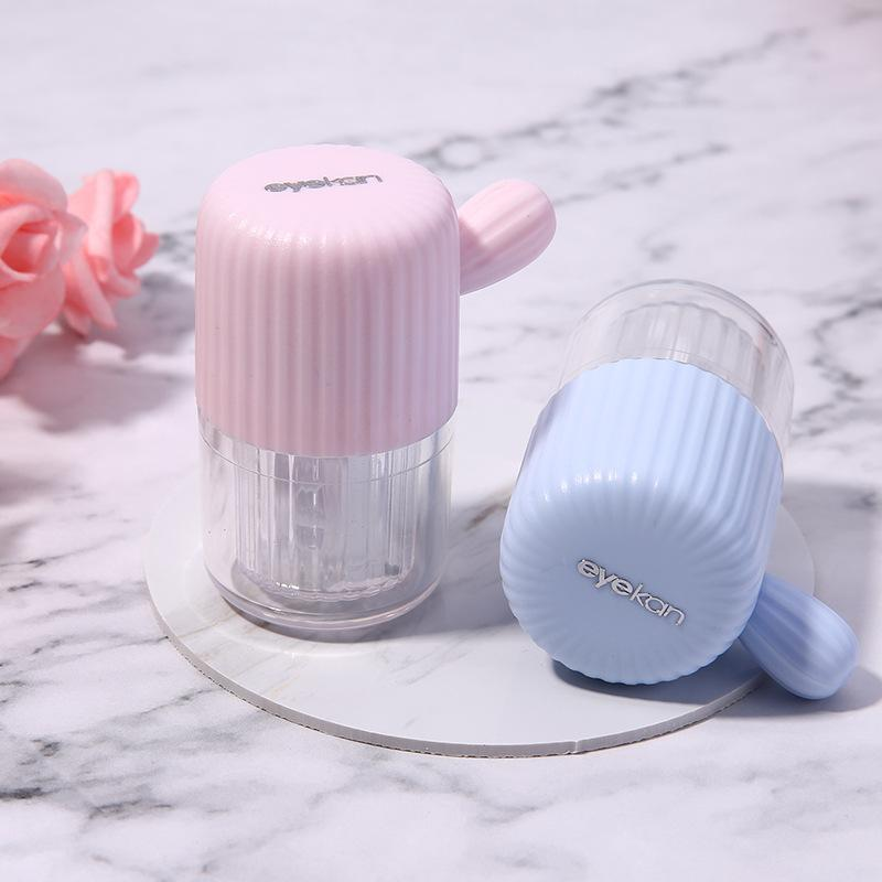 Contact lens cleaner portable cute simple beauty lens cleaner automatic manual contact lens case(Contains tweezers and suction stick)
