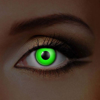 cosplay fluorescent green turquoise/bright white  (12 months) contact lenses