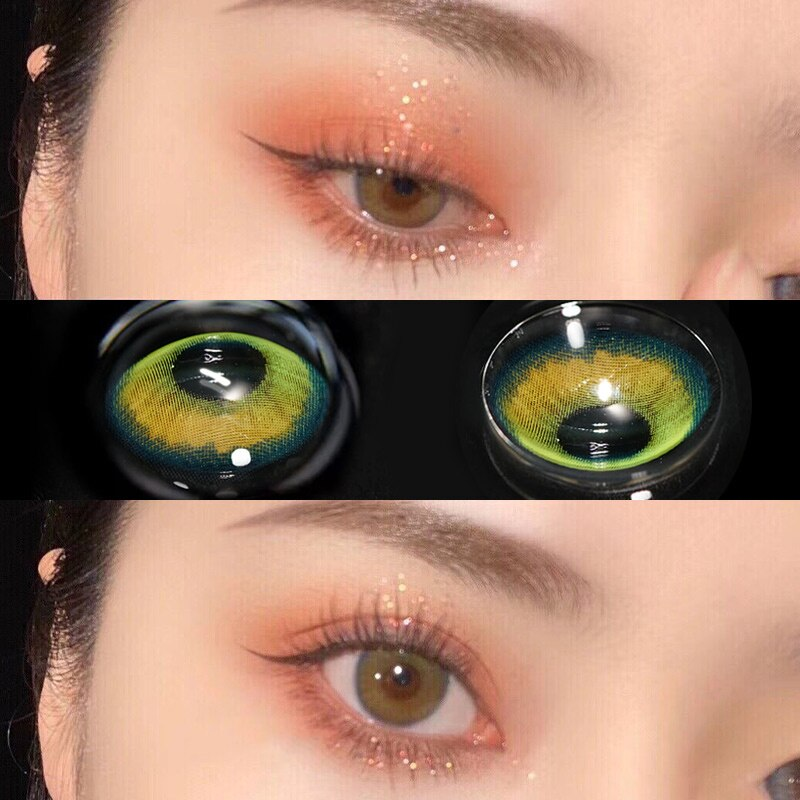 1 Pair(2 pieces) Color Contact Lenses Eye toric Lens For Female Path Cute Multicolor Party Gift