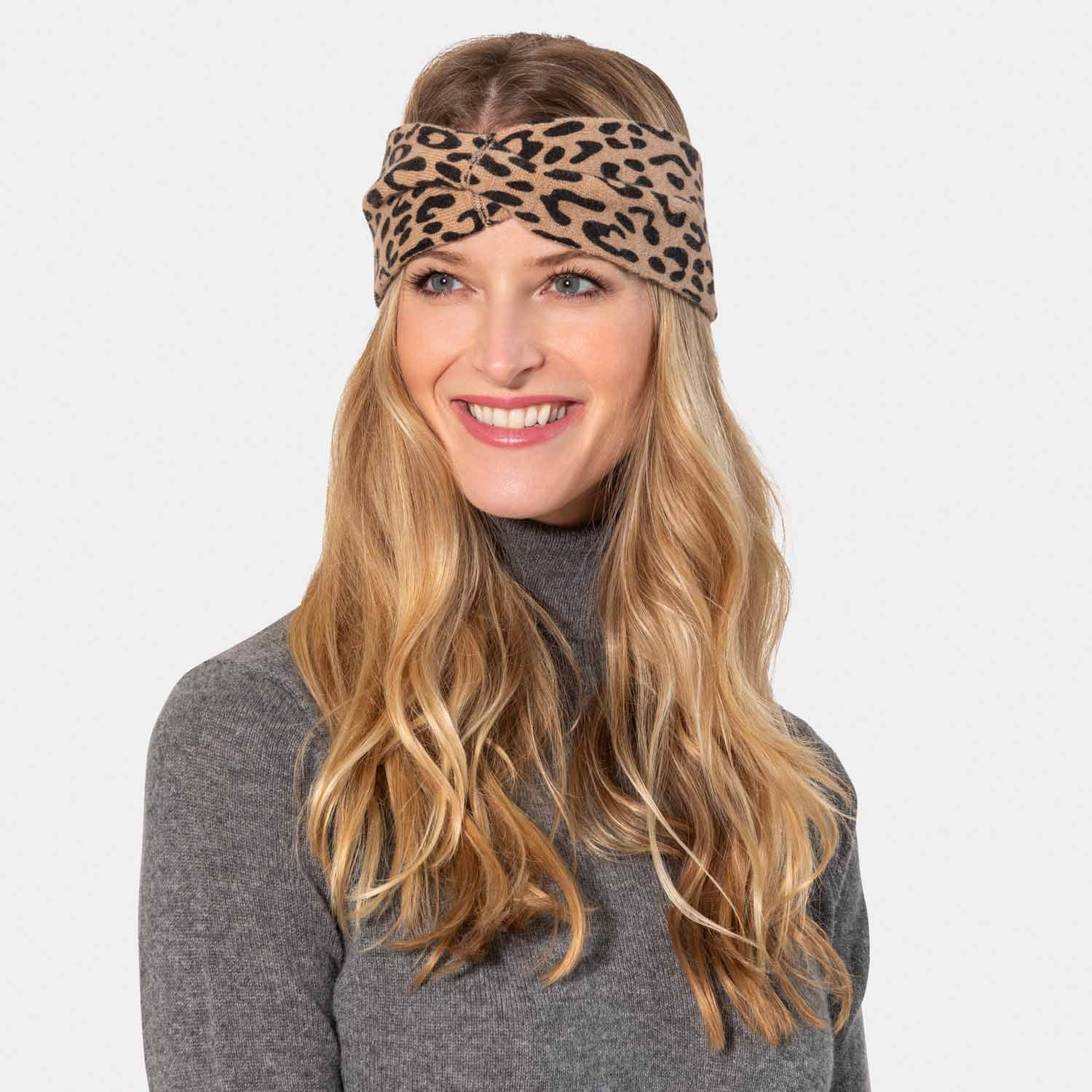 Animal Print Headband-Amicale Cashmere