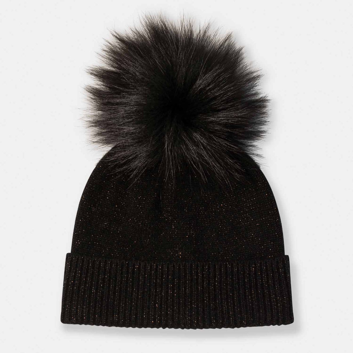 Cashmere and Lurex Hat with Fox Pom Pom-Amicale Cashmere