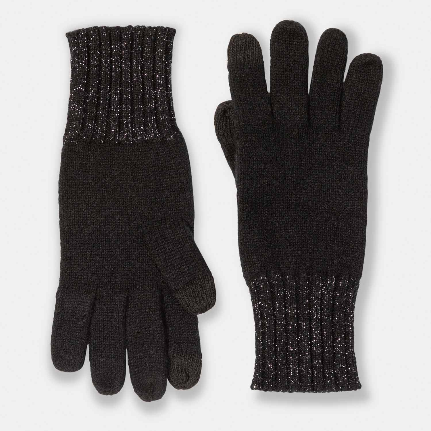 Cashmere and Lurex Rib Cuff Texting Gloves-Amicale Cashmere