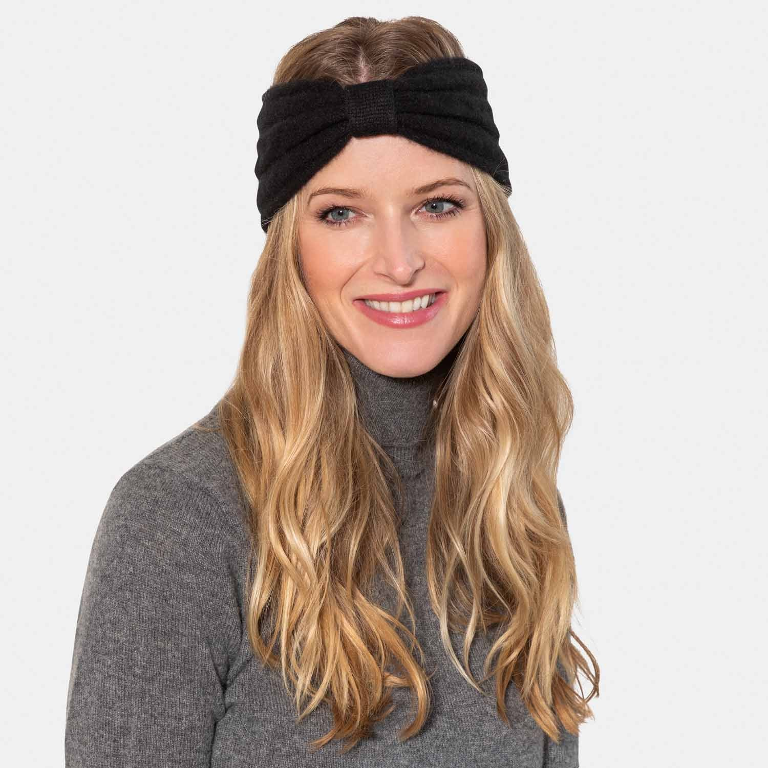Cashmere Cable Headband with Bow-Amicale Cashmere