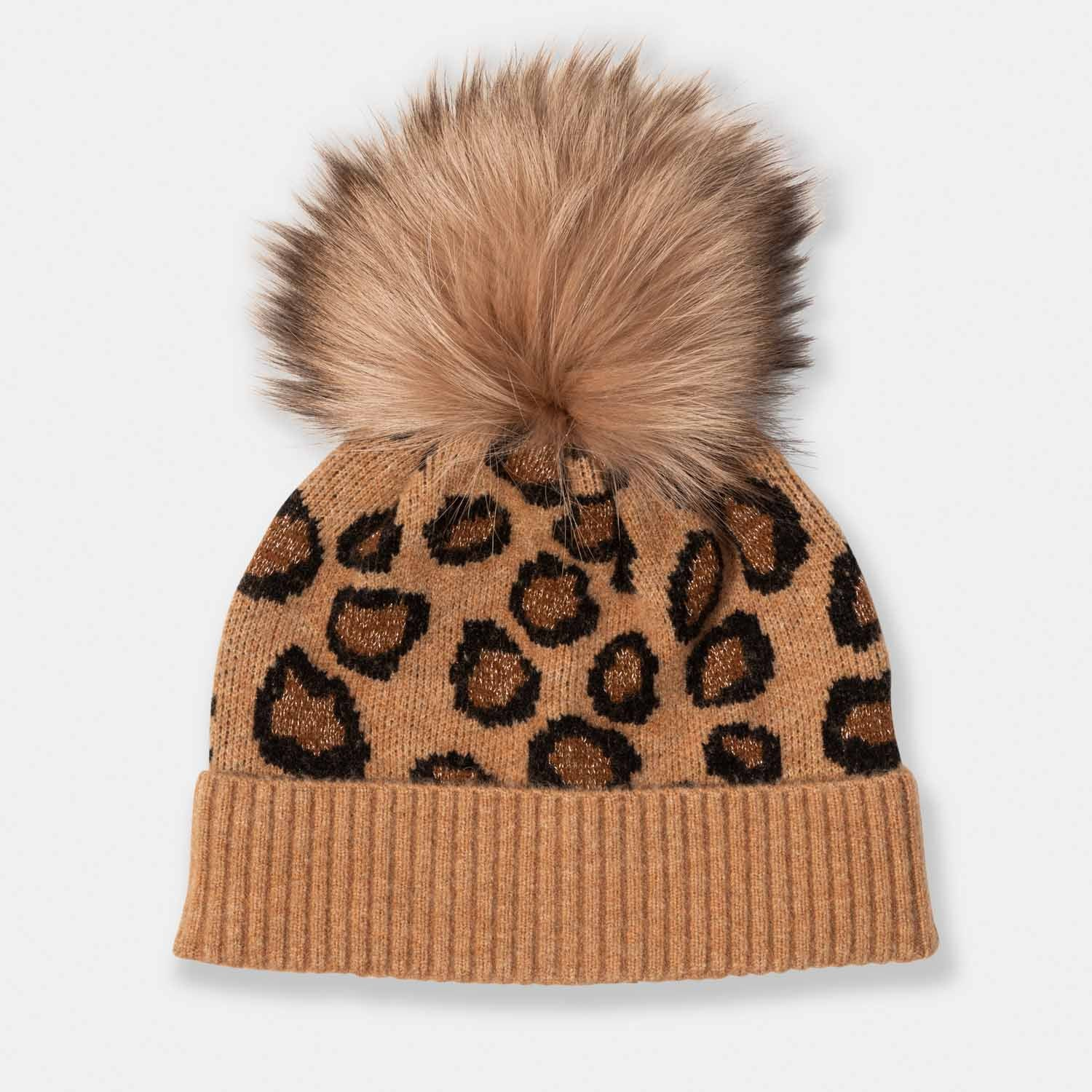 Cashmere Cheetah Print Hat with Fox Pom Pom-Amicale Cashmere