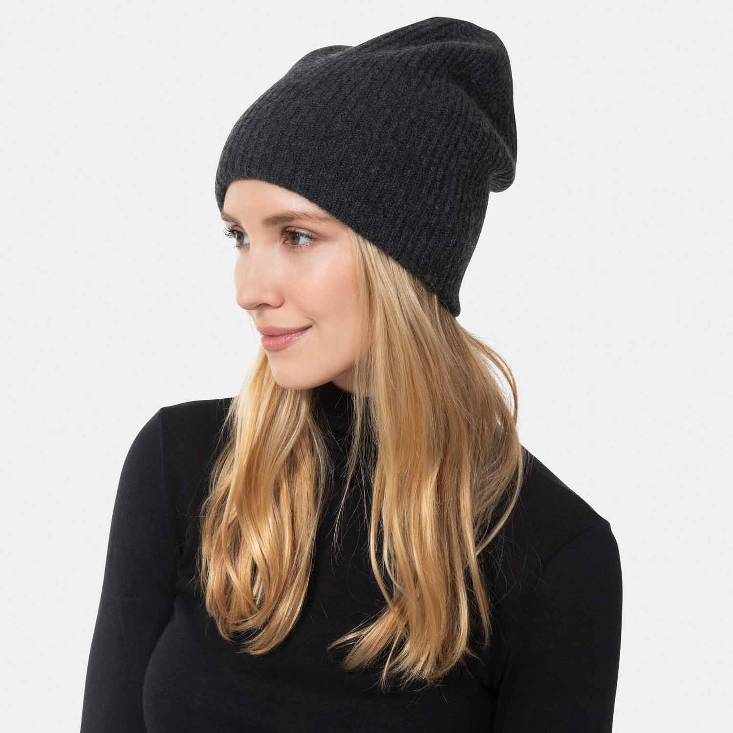 Cashmere Double Layer Knit Hat-Amicale Cashmere