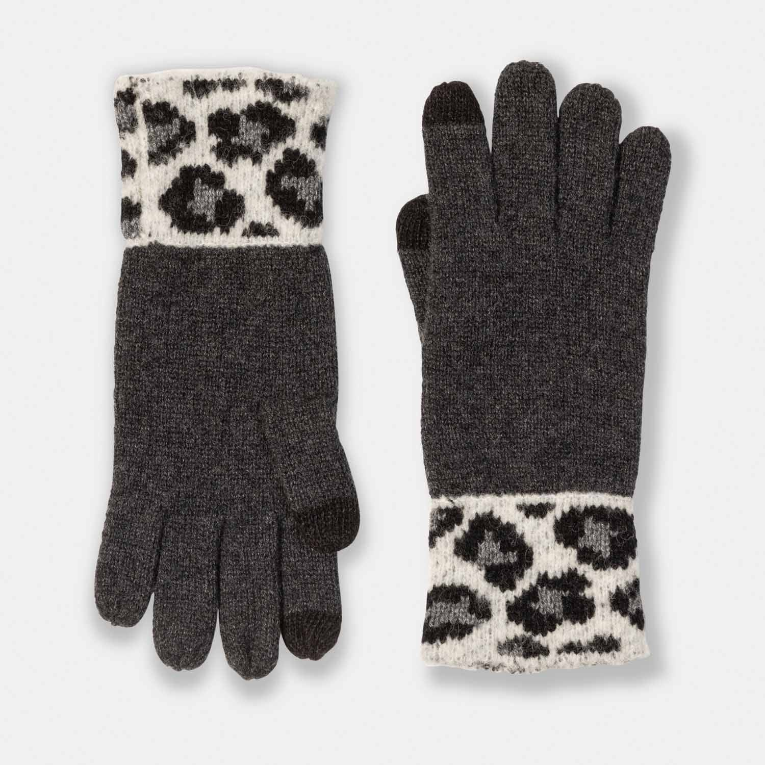 Cashmere Gloves with Cheetah Cuffs-Amicale Cashmere