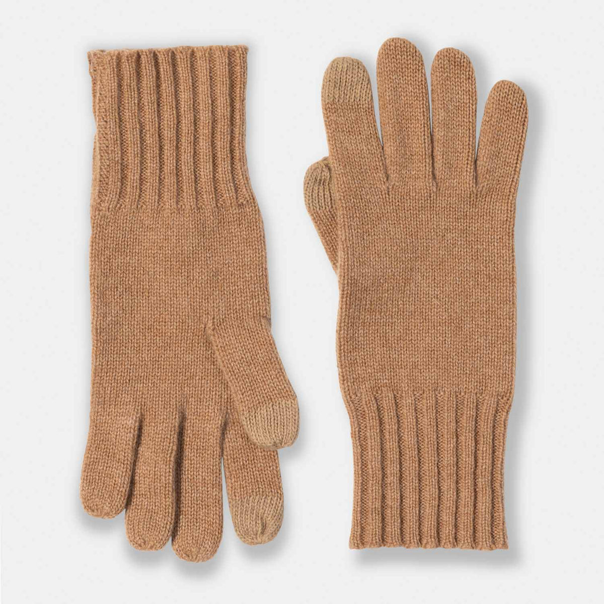 Cashmere Jersey Rib Cuff Texting Gloves-Amicale Cashmere