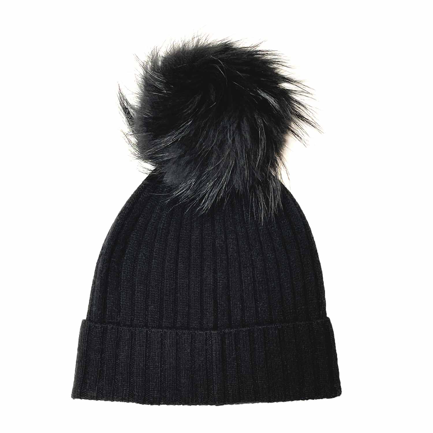 Cashmere Ribbed Hat with Faux Fur Pom Pom-Amicale Cashmere
