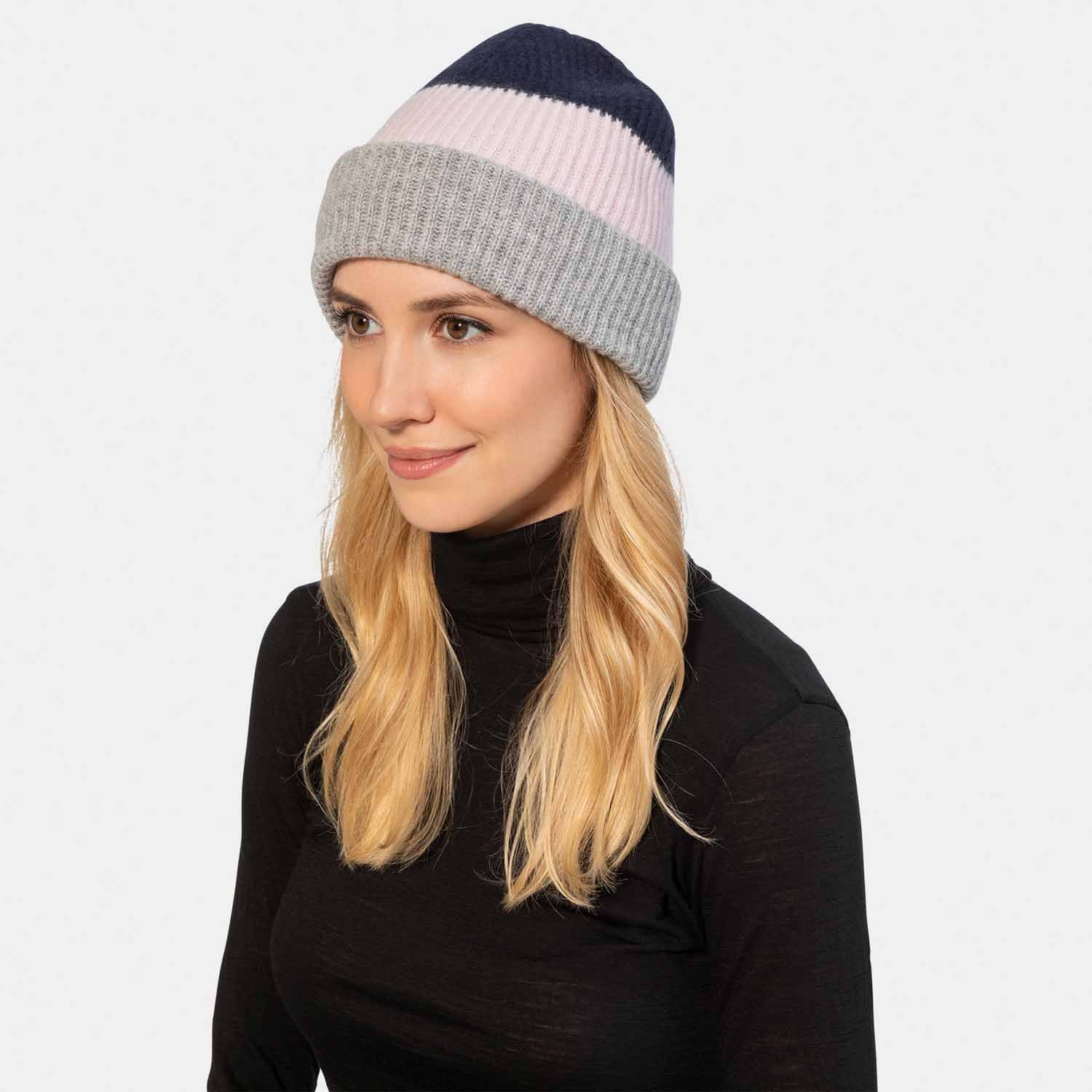 Color Block Cashmere Knit Hat with Rib-Amicale Cashmere
