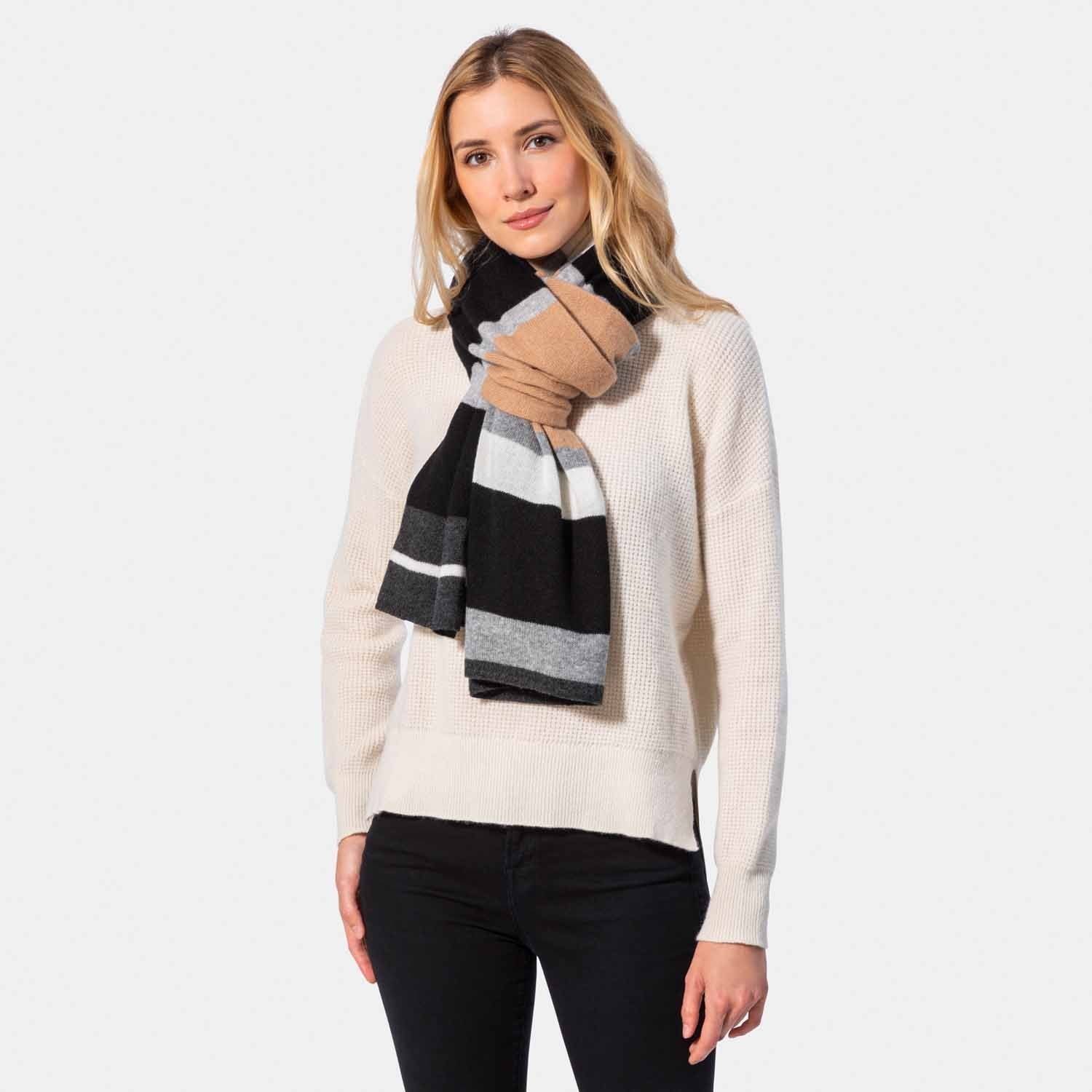 Color Block Travel Wrap-Amicale Cashmere