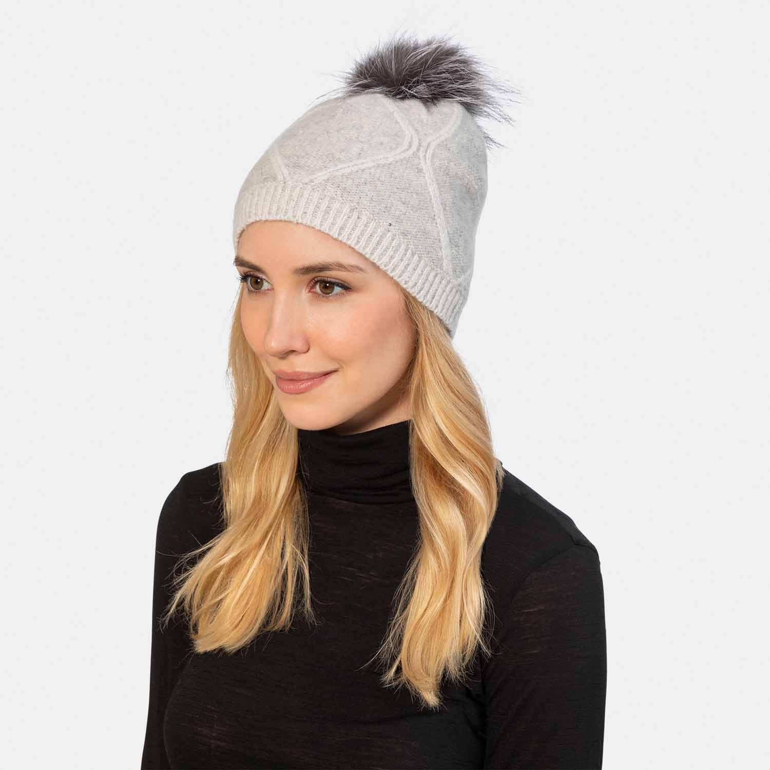 Diamond Stitch Cashmere Knit Hat-Amicale Cashmere