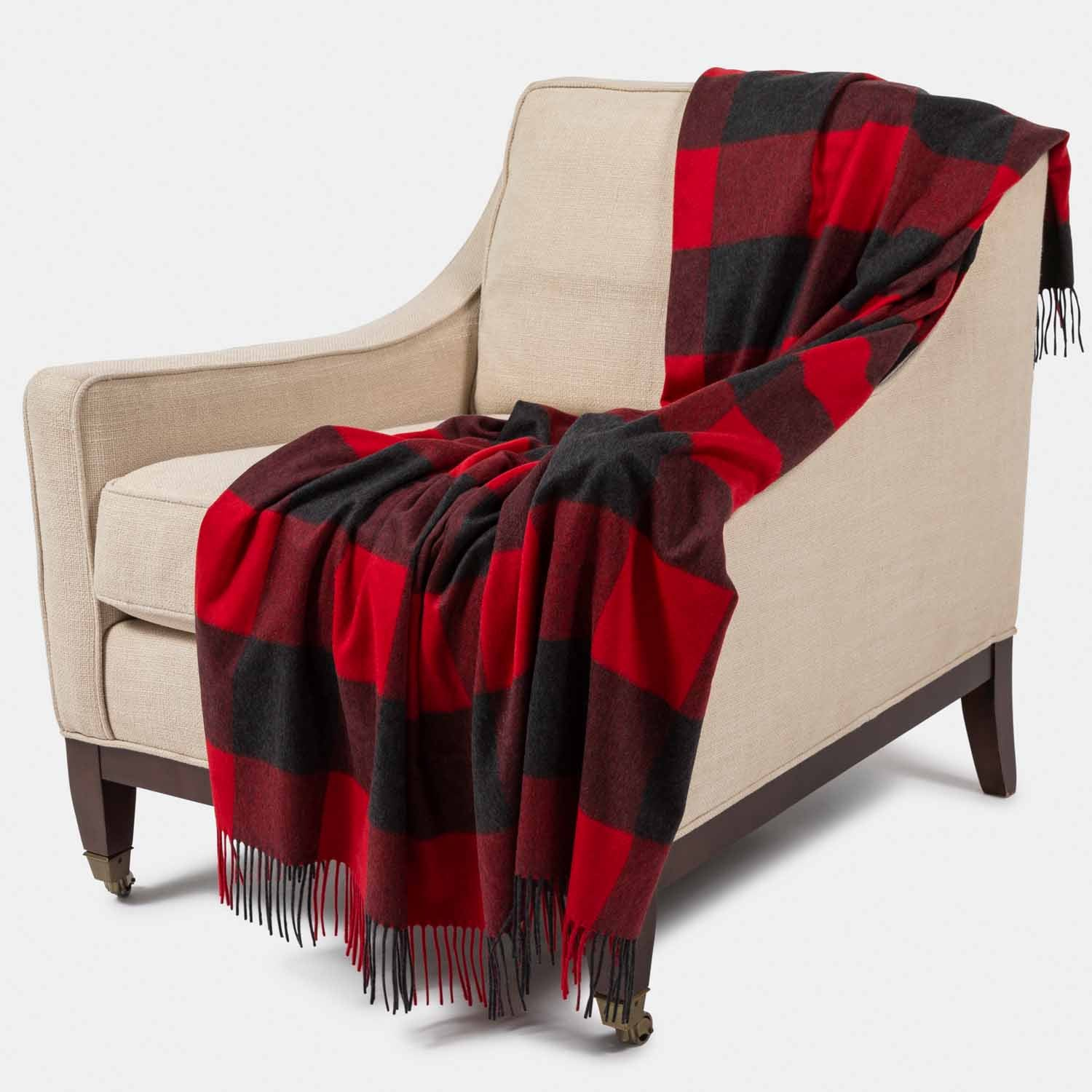Grey & Red Buffalo Plaid Throw-Amicale Cashmere