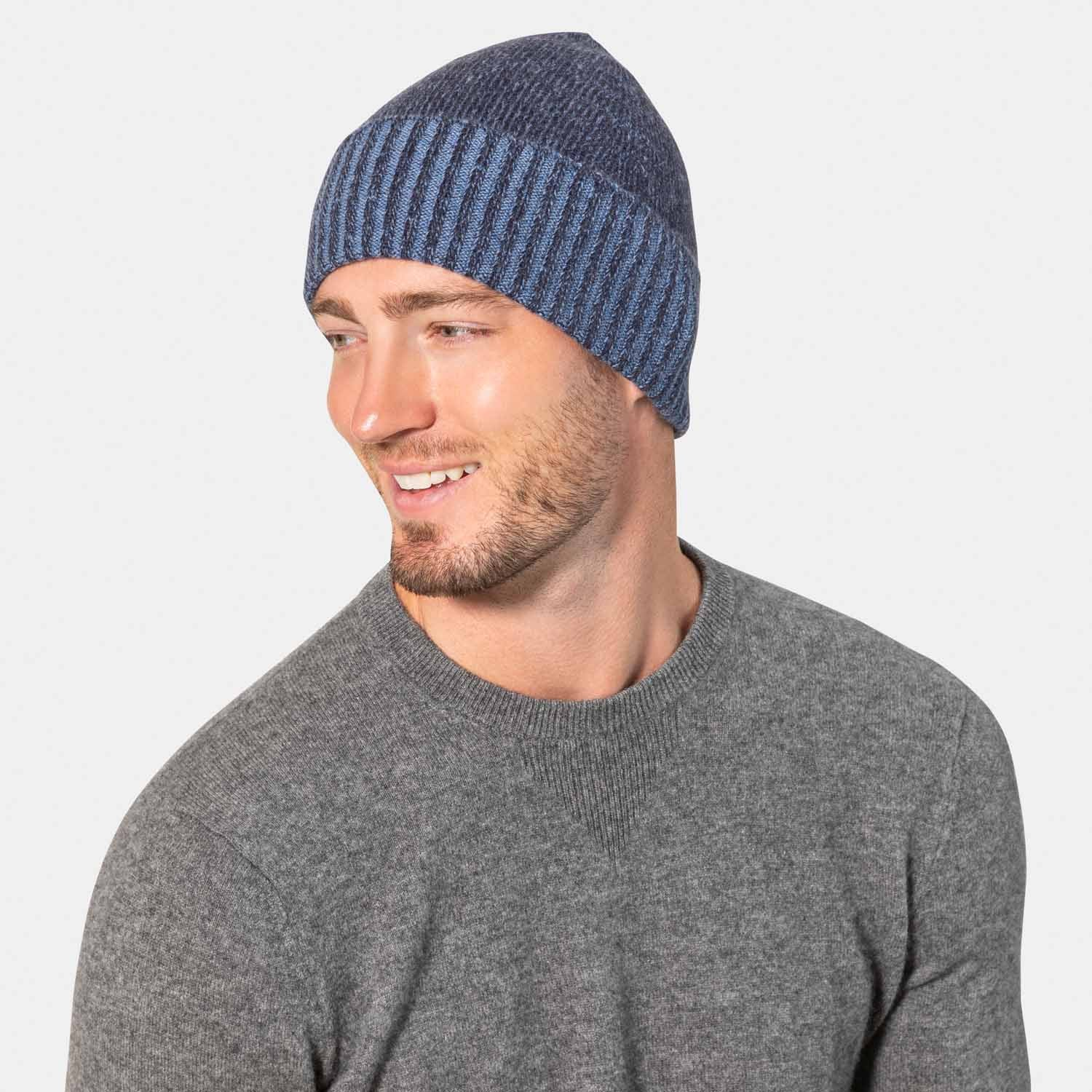 Men's 100% Cashmere Plaited Knit Hat-Amicale Cashmere