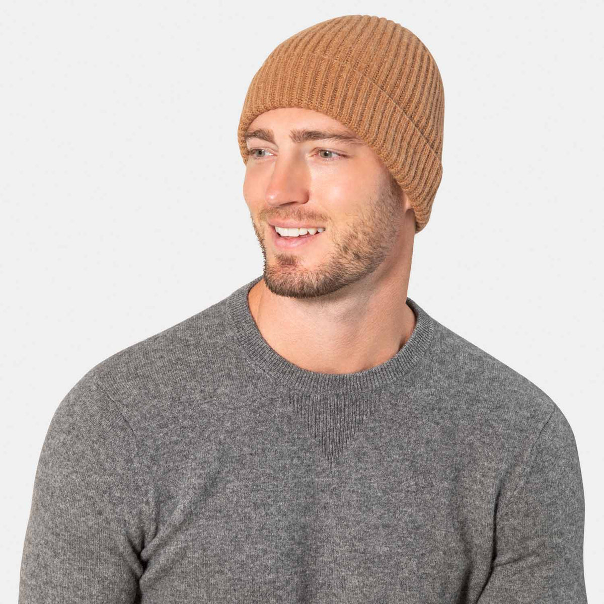 Men's Cashmere Cardigan Rib Hat-Amicale Cashmere