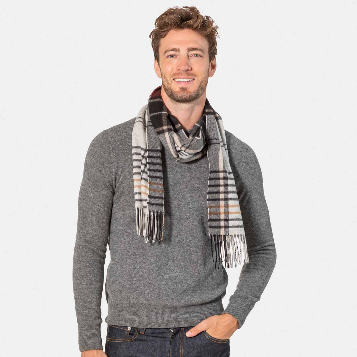 Men's Cashmere Plaid Scarf with Border-Amicale Cashmere