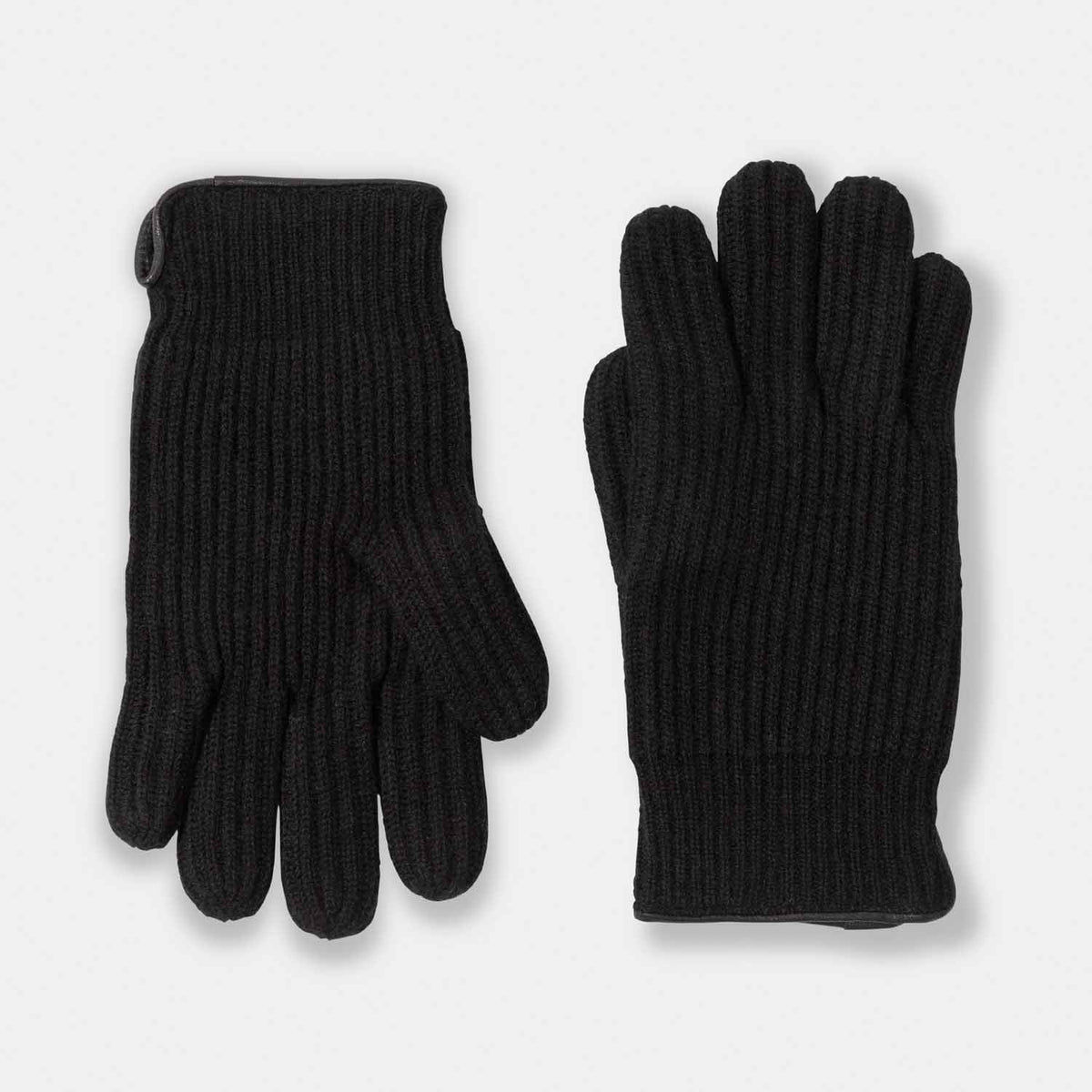 Men's Cashmere & Suede Rib Gloves-Amicale Cashmere
