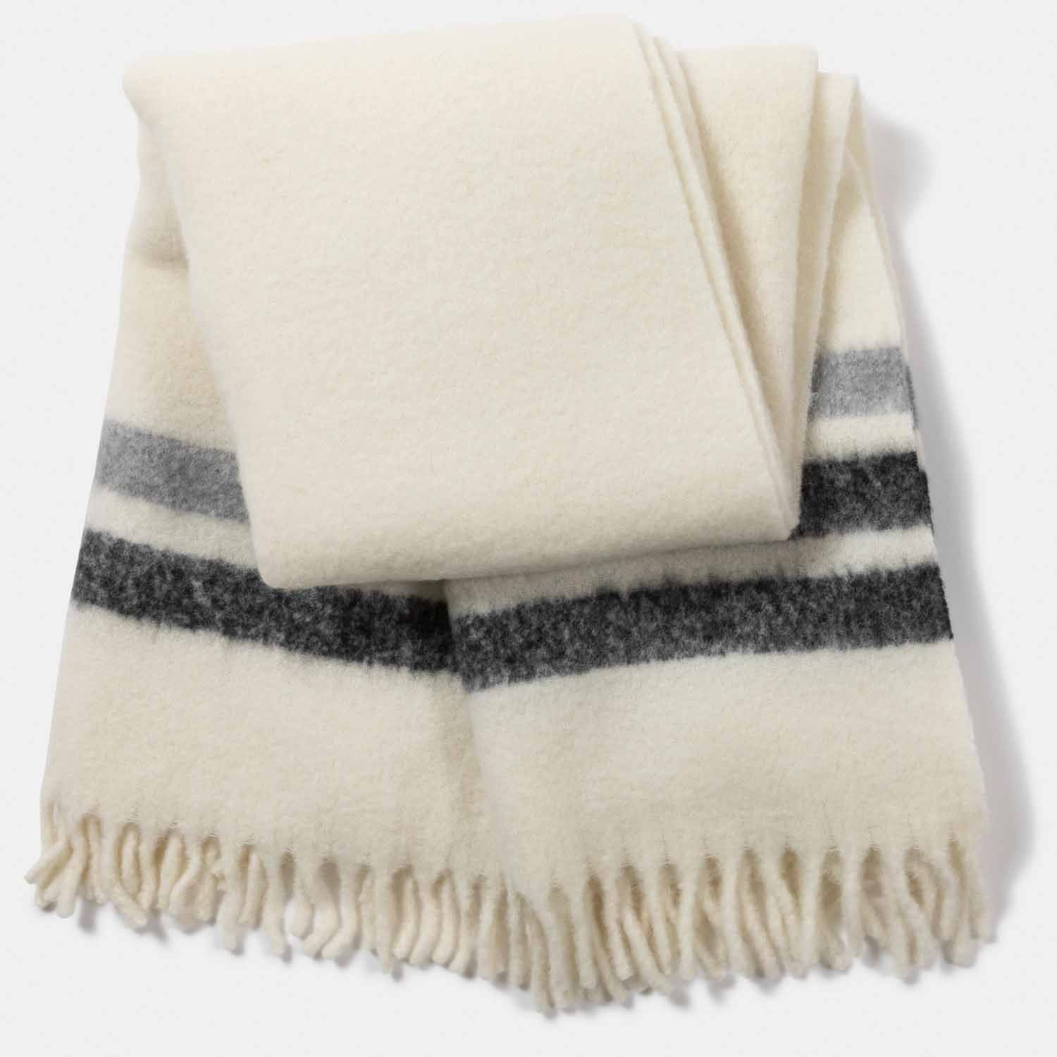 Mohair Blend Border Stripe Throw-Amicale Cashmere