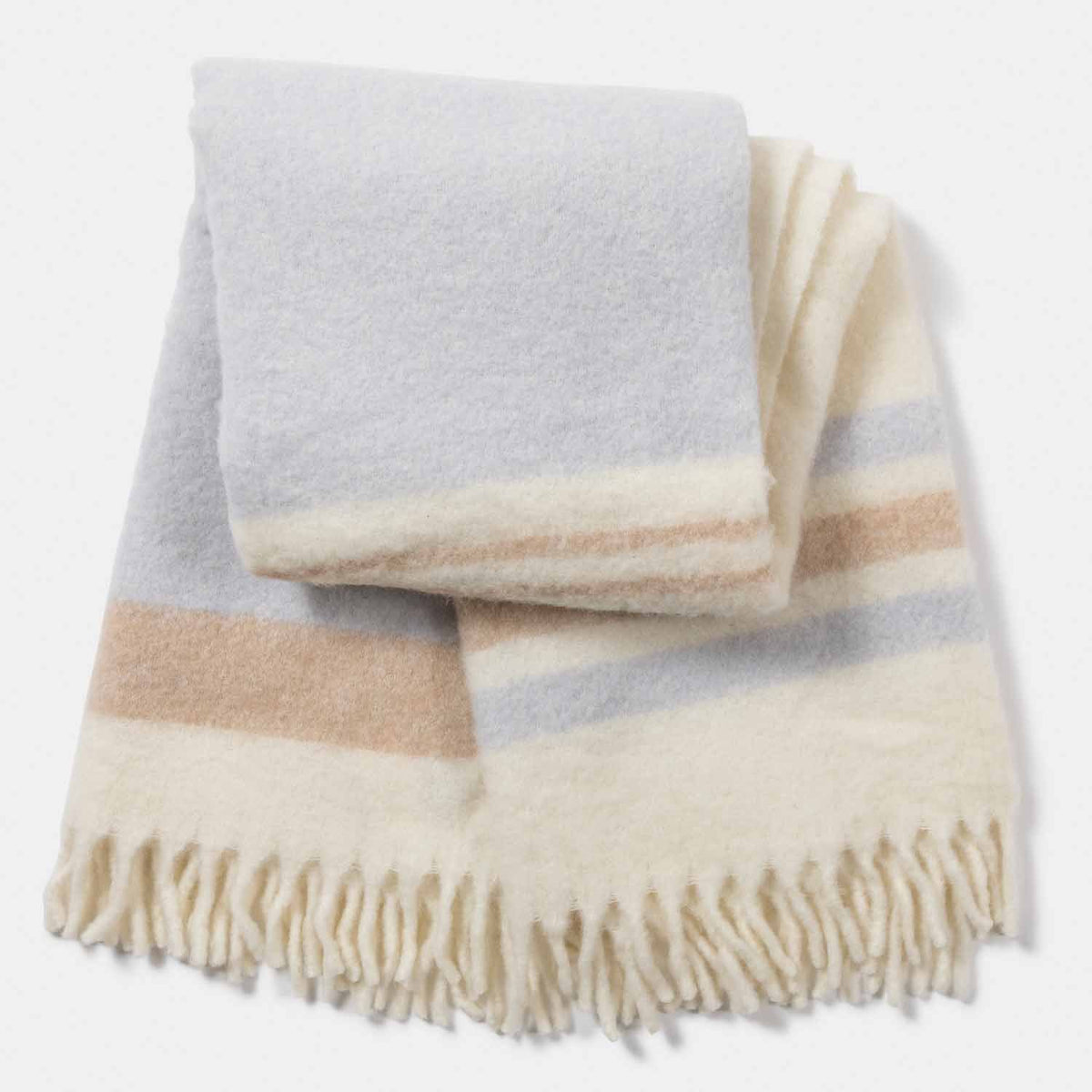 Mohair Blend Color Block Stripe Throw-Amicale Cashmere