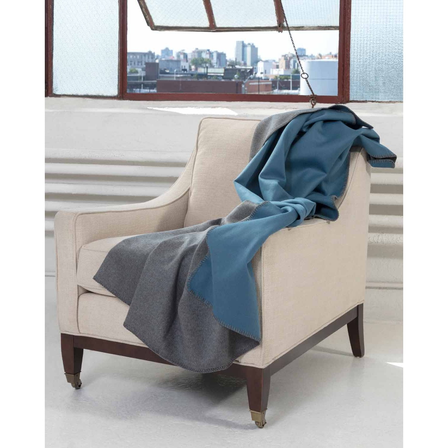 Navy Double Face Blanket Stitch Throw-Amicale Cashmere