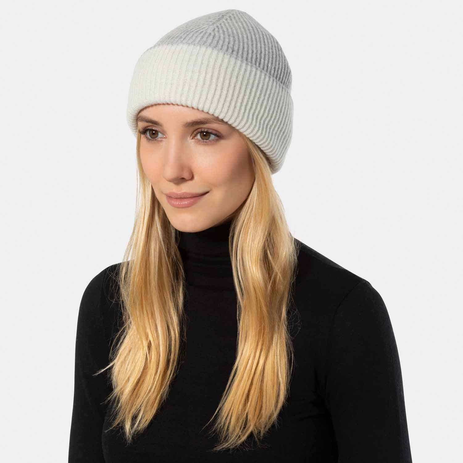Reversible Rib Knit Hat-Amicale Cashmere