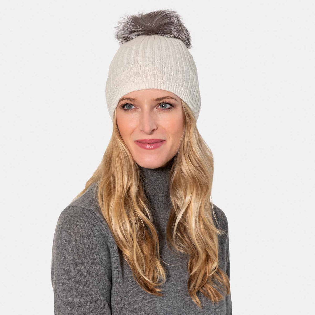 Rib Cashmere Hat with Lurex & Fox Pom Pom-Amicale Cashmere
