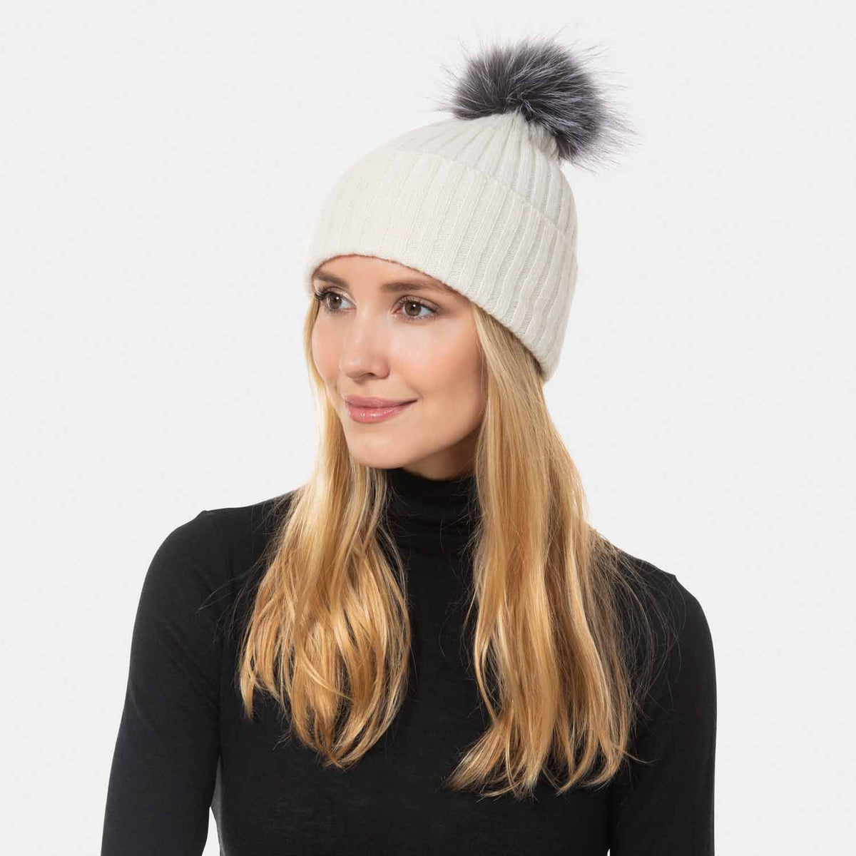 Rib Cashmere Knit Hat with Fox Pom Pom-Amicale Cashmere
