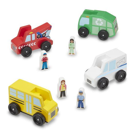 Melissa & Doug - Classic Wooden Toy Community Vehicle Set
